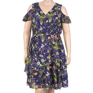Tahari Floral Dress With Cold Shoulder Detail